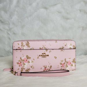 COACH ACCORDION ZIP WALLET WITH ROSE BOUQUET PRINT